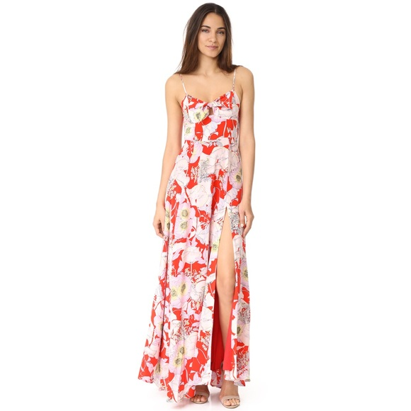 a997ef1f73ba Yumi Kim Dresses   Red Silk Floral Maxi Dress Nwt Size Sm   Poshmark